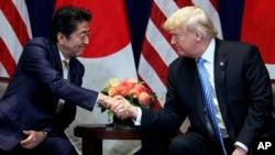 Thủ tướng Nhật Shinzo Abe (trái) và Tổng thống Mỹ Donald Trump (phải).