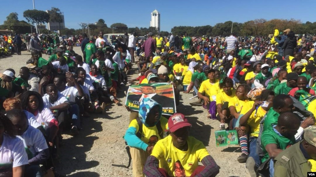 Some Zanu PF youth who participated in the march for peace event Wednesday.