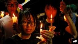 중국 천안문 사태 24주년을 맞은 지난해 6월, 홍콩 빅토리아 공원에서 중국의 인권 증진을 요구하는 시위가 열렸다. (자료사진)
