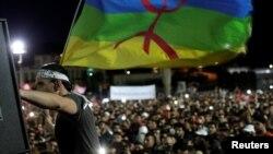 Des manifestants rassemblés à Al-Hoceïma protestent contre l'injustice et la corruption, au Maroc, 18 mai 2017.