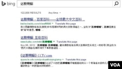 A screenshot of the search results on Bing's Chinese site for the term 'Dalai Lama'
