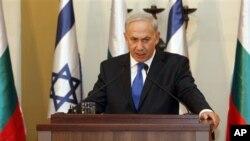 11일 예루살렘에서 가진 기자회견장에서 발언하는 이스라엘의 베냐민 네타냐후 총리(자료사진)