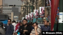 The campaign is driven largely by Egyptians' thirst for stability after years of turbulence following the popular uprising of 2011 that threw out longtime leader Hosni Mubarak. A campaign banner in downtown Cairo has the signatures of Sissi supporters.
