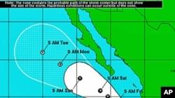 Predicted track of hurricane Dora, Jul 21, 2011