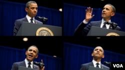 El presidente Barack Obama en diferentes momentos durante su discurso en Arizona.