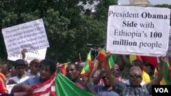 Demonstrators outside the White House protest President Obama's planned trip to Ethiopia, July 3, 2015.