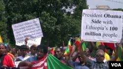 示威者在美国白宫外手举标语牌抗议奥巴马总统计划访问埃塞俄比亚,他们指称埃塞俄比亚政府践踏人权(2015年7月3日)