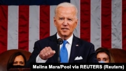 USA, U.S. President Joe Biden addresses a joint session of Congress as President Kamala Harris and Speaker of the House U.S. Rep. Nancy Pelosi U.S. President Joe Biden addresses a joint session of Congress as President Kamala Harris and Speaker of the Hou