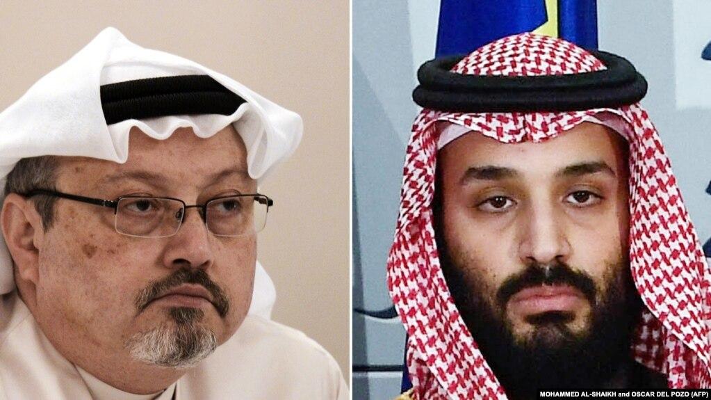 合成照片:沙特异议人士贾迈勒·卡舒吉(左)与沙特王储穆罕默德·本·萨勒曼(右)(photo:VOA)