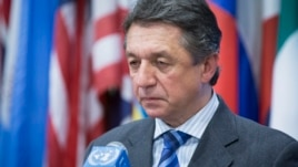 Ukraine's U.N. Ambassador Yuriy Sergeyev pauses during a news conference following an U.N. Security Council meeting on his country's political crisis, Saturday, March 1, 2014, in the United Nations headquarters.
