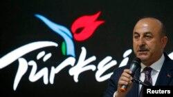 土耳其外长恰武什奥卢在柏林国际旅游贸易博览会上讲话。(2017年3月8日)