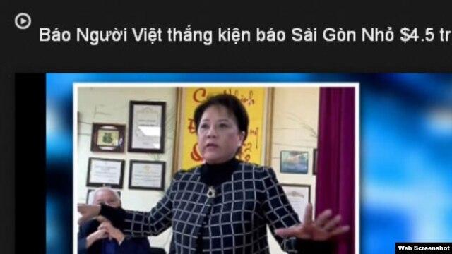 Trong bản tin video trên mạng, tờ Người Việt cho biết họ đã thắng kiện tuần báo Sài Gòn nhỏ 4,5 triệu đôla.