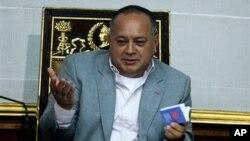8일 베네수엘라 의회에서 발언하는 디오스다도 카베요 국회의장.