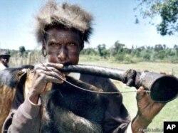 An Ogiek man in traditional dress