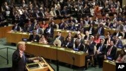 Ansanble Jeneral l'ONU an nan okazyon ouvèti sesyon anyel li nan mwa septanm 2017 (72èm sesyon). Donald Trump te sou podyòm nan pou l te prezante mesaj li kòm prezidan ameriken e kòm lidè peyi ki resevwa delegasyon mondyal yo.