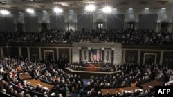 Президент США Барак Обама выступает на Капитолийском холме с посланием «О положении в стране» 24 января 2012 г.