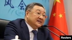中國外交部軍控司司長傅聰在記者會上講話。(2020年7月8日)
