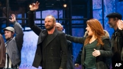 """Sting appears at the curtain call following his debut performance in Broadway's """"The Last Ship,"""" Dec. 9, 2014 in New York."""