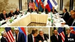 در حضور جان کری و لاوروف وزرای خارجه آمریکا و روسیه و نماینده فرانسه، روسای جمهوری ارمنستان و آذربایجان هم دیدار کردند.