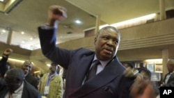 FILE: Phelekezela Mphoko chants the party slogan at the Zanu PF headquarters in Harare,Wednesday, Dec, 10, 2014. (AP Photo/Tsvangirayi Mukwazhi)