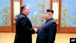 Waziri wa Mambo ya Nje Mike Pompeo na Kiongozi wa Korea Kaskazini Kim Jong Un