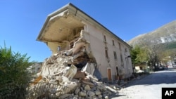 A destroyed house in the village of Pretare, near Arquata del Tronto, Italy, Nov. 1, 2016. Earthquake aftershocks gave central Italy no respite on Tuesday, haunting a region where thousands of people were left homeless and frightened by a massive weekend tremor that razed centuries-old towns.