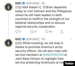 Thông báo của Cố vấn An ninh Quốc gia trên Twitter về chuyến thăm Việt Nam của ông Robert O'Brien.