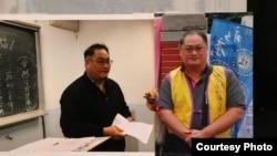 台湾人权活动人士李明哲以往活动的照片(李明哲妻子提供)