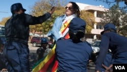 One of the arrested protesters Jenni Williams at Queens Sports Club in Bulawayo