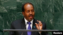 FILE - Hassan Sheikh Mohamud, Somalia's president, addresses the U.N. General Assembly in New York, Sept. 26, 2014.
