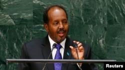 FILE - Hassan Sheikh Mohamud, Somalia's president, addresses the U.N. General Assembly in New York, Sept. 26, 2014.