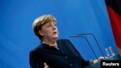 German Chancellor Angela Merkel during news conference at the chancellery in Berlin, Germany, January 16, 2017.
