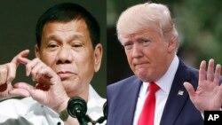 Presiden Filipina Rodrigo Duterte (kiri) dan Presiden AS Donald Trump (foto: ilustrasi).
