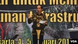 Presiden Jokowi membuka Rakernas Pembangunan Pertanian di Gedung Bidakara, Jakarta, Kamis 5 Januari 2016. (Foto:VOA/Biro Pers Kepresidenan).