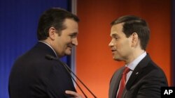 FILE - Ted Cruz and Marco Rubio talk after a Republican presidential primary debate, Jan. 28, 2016, in Des Moines, Iowa. They are among a group of U.S. senators supporting an Air Force officer who says he was wrongly disciplined after refusing to sign a certificate of appreciation to the same-sex spouse of a retiring master sergeant.
