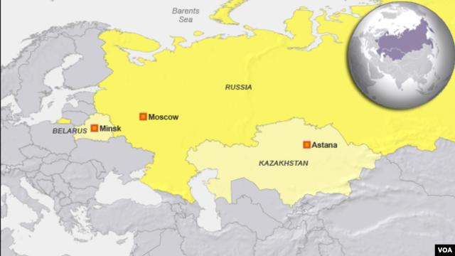 Russia, Kazakhstan, Belarus map