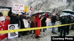 Hundreds of Cambodian-Americans rallied at UN headquarters in New York on Tuesday.