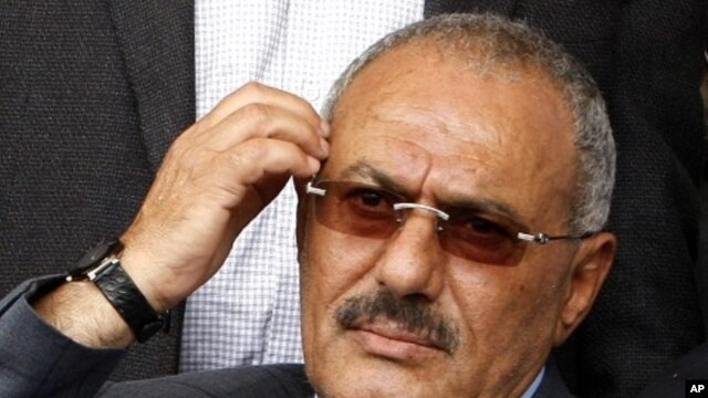 Yemen's President Ali Abdullah Saleh during a rally of supporters in Sana'a, April 8, 2011