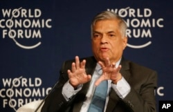 Sri Lanka's Prime Minister Ranil Wickremesinghe speaks during a debate hosted by the Associated Press at the World Economic Forum in Davos, Switzerland, Jan. 21, 2016. The debate focused on the future of South Asia.