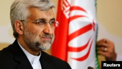 Iran's chief negotiator Saeed Jalili attends a news conference after the talks on Iran's nuclear programme in Almaty, April 6, 2013.