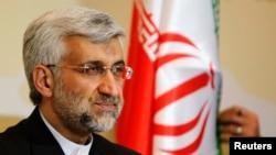 Thương thuyết gia trưởng của Iran Saeed Jalili trả lời họp báo sau cuộc đàm phán về chương trình hạt nhân ở Almaty, ngày 6/5/2013.