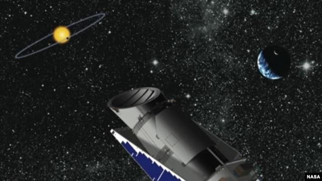 Artist's rendering of the Kepler Space Telescope in orbit. (NASA)