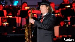 Saxophonist Boney James performs at the 5th Annual Holiday Tree Lighting at L.A. Live in Los Angeles, California, Nov. 28, 2012.