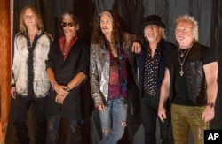 From left : Tom Hamilton, Joe Perry, Steven Tyler, Brad Whitford, and Joey Kramer of the U.S. rock band Aerosmith pictured during a photo call in Munich, Germany, May 25, 2017.