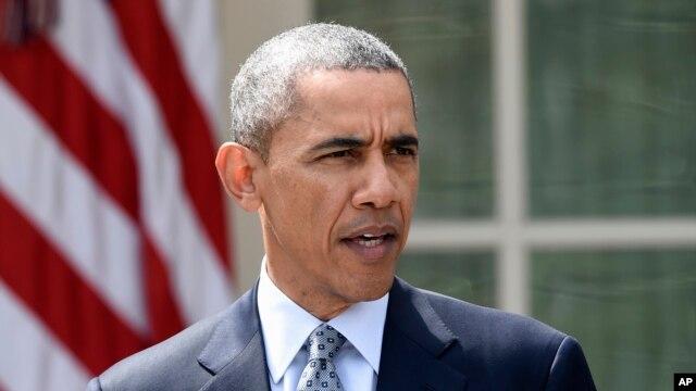 President Barack Obama speaks in the Rose Garden of the White House in Washington, Thursday, April 2, 2015.