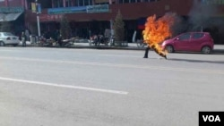 Dorjee Rinchen Engulfed in Flames