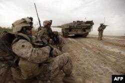 资料照片:美国海军陆战队在阿富汗马尔亚城边东北方一条交通要道巡逻时经过一辆丹麦陆军豹2A5坦克。(2010年2月21日)