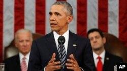 Tổng thống Barack Obama đọc Thông điệp Liên bang trước một phiên họp chung ở Điện Capitol, Washington, ngày 12 tháng 1 năm 2016.
