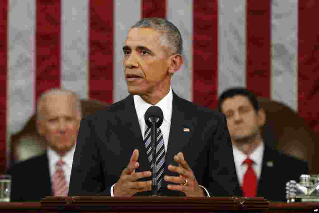 President Barack Obama delivers his State of the Union address before a joint session of Congress on Capitol Hill in Washington, Jan. 12, 2016.