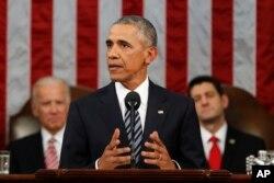 奥巴马总统星期二在国会发表他最后一次国情咨文